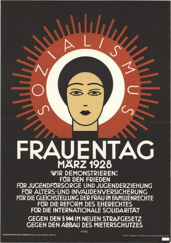 Plakat zum Frauentag 1928, Hermann Kosel, ÖNB Bildarchiv und Grafiksammlung