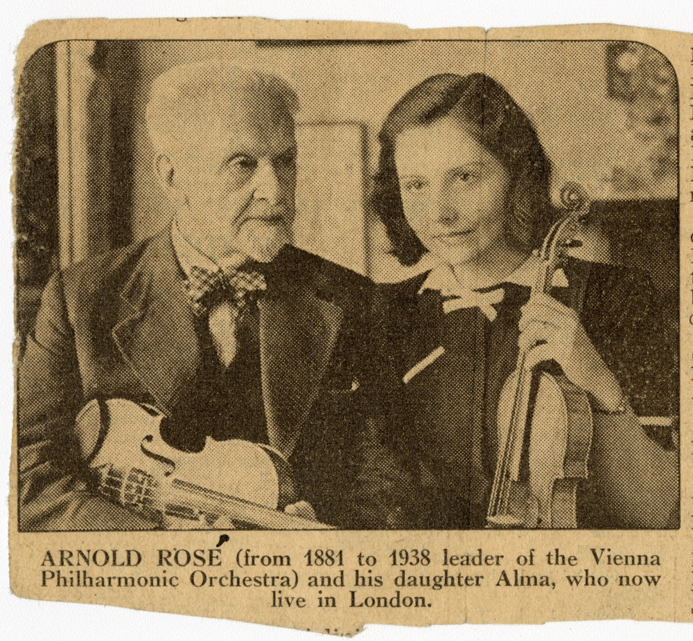 Zeitungsbericht über die Ankunft von Arnold und Alma Rosé in London, Mai 1939. The Gustav Mahler–Alfred Rosé Collection. Music Library, University of Western Ontario, Canada. Supported by The Gladys Krieble Delmas Foundation