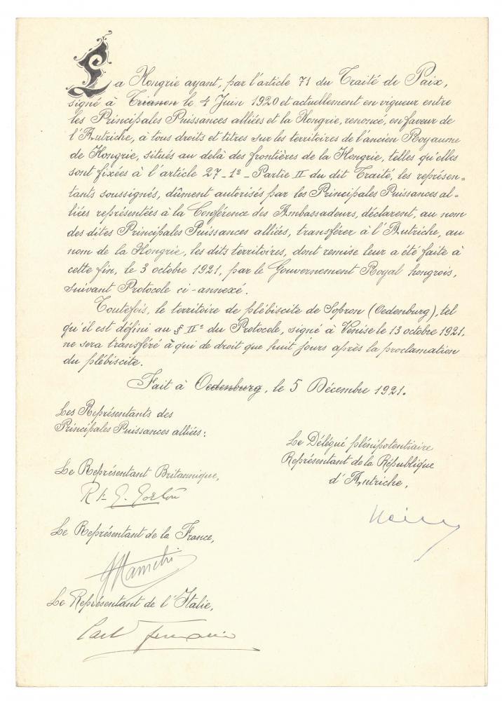 Offizielles Übergabedokument des Burgenlands an Österreich mit Hinweis auf die bevorstehende Volksabstimmung, unterzeichnet von den Delegierten der interalliierten Kommission in Ödenburg, 5.12.1921