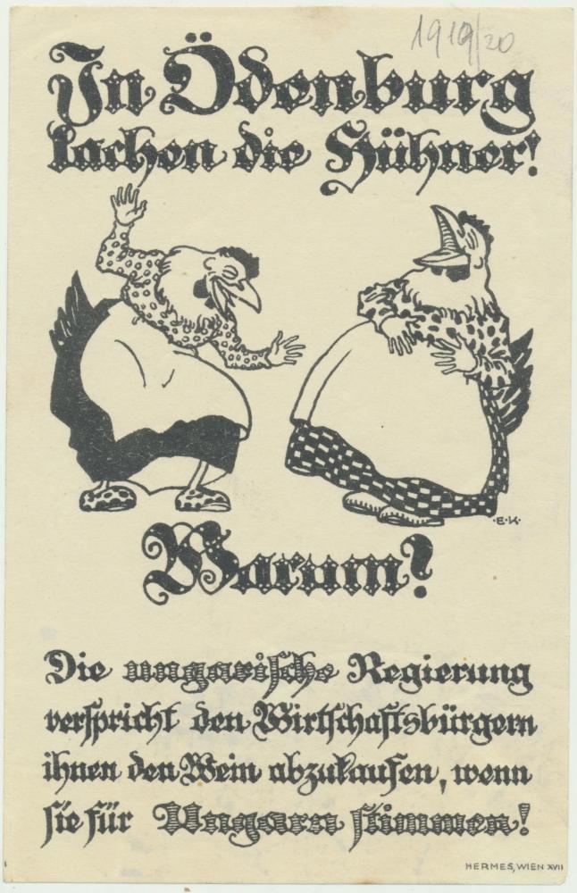 """""""In Ödenburg lachen die Hühner"""", Flugzettel, 1921"""