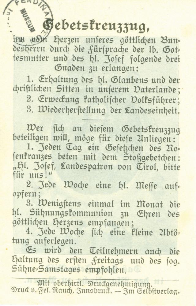 """""""Gebetskreuzzug"""", unterstützt von der Tiroler Volkspartei"""