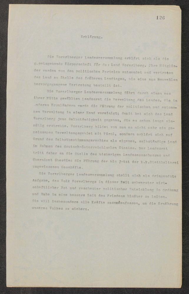 Erklärung, in der sich die Vorarlberger Landesversammlung, die sich am 3. November 1918 konstituiert hat, als selbstständige gesetzgebende Körperschaft für das neue Land Vorarlberg proklamiert, undatiert (3. November 1918).