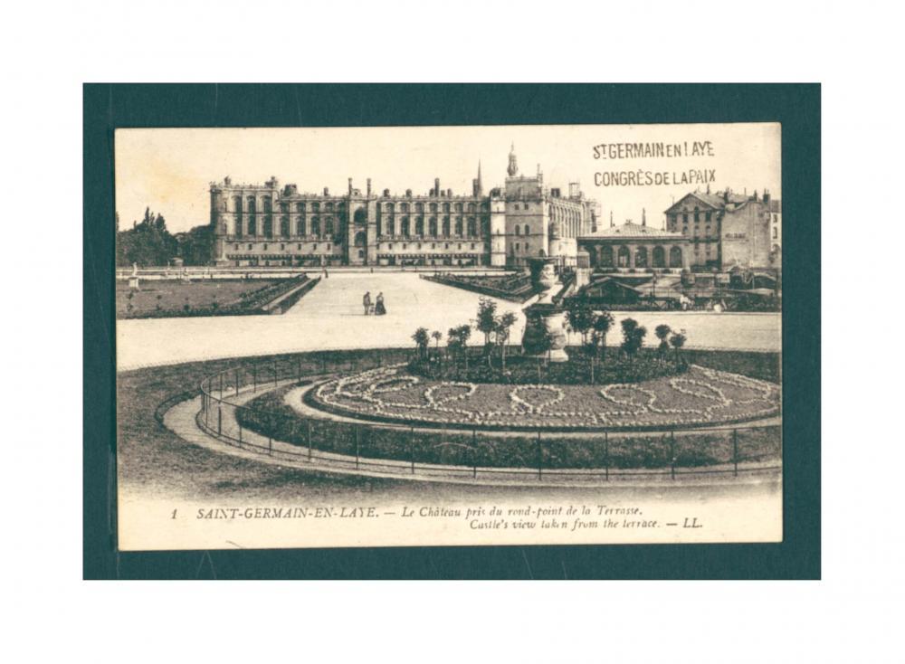 Postkarte von den Friedensverhandlungen aus Saint-Germain-en-Laye an Anton Hruban, Staatsamt für Äußeres, unterzeichnet von Feodor Weingart, einem der Dolmetscher der österreichischen Delegation, sowie von Karl Renner, 1919