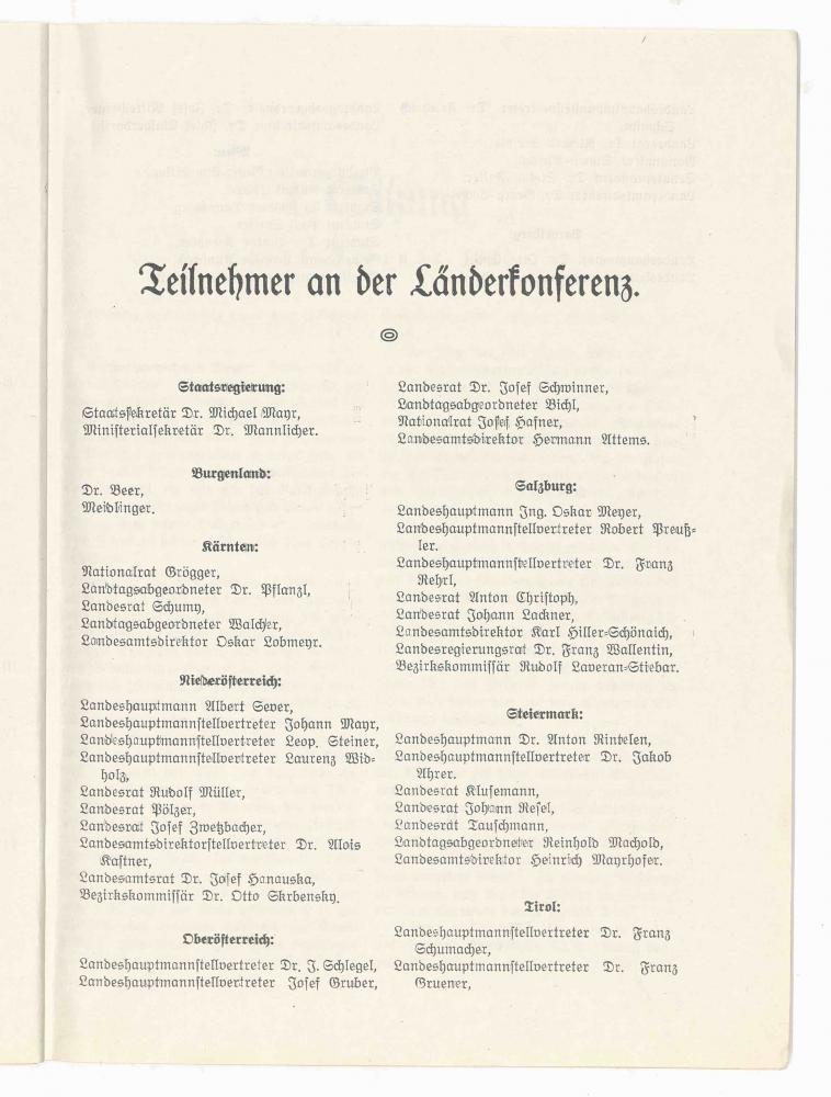 Stenografische Verhandlungsschrift über die Länderkonferenz in Salzburg am 15., 16. und 17.2.1920
