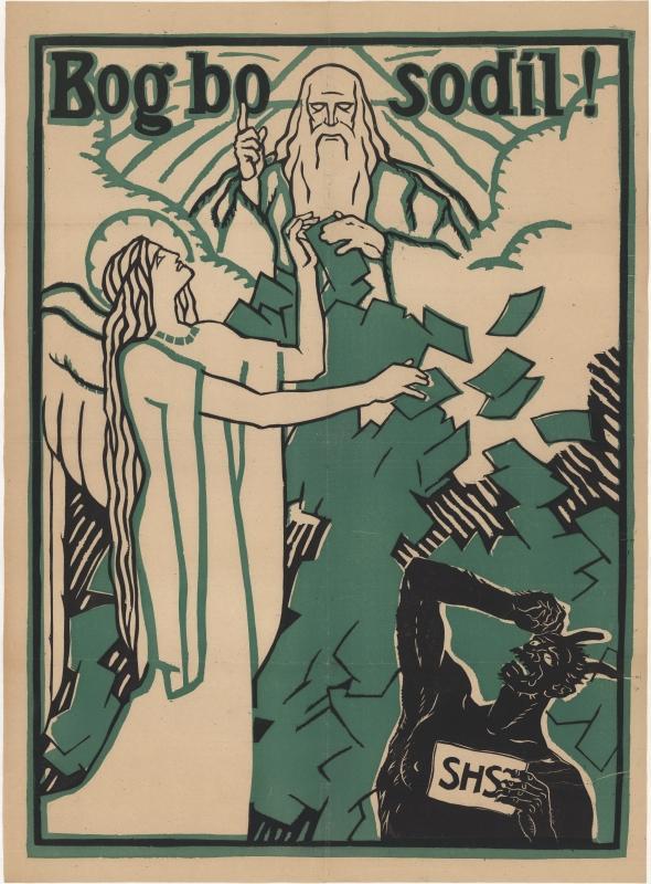"""""""Bog bo sodil!"""" (""""Gott wird richten!""""), 1920, Plakat.  Dieses Plakat richtete sich bewusst an die katholische Bindung vieler Kärtner SlowenInnen."""