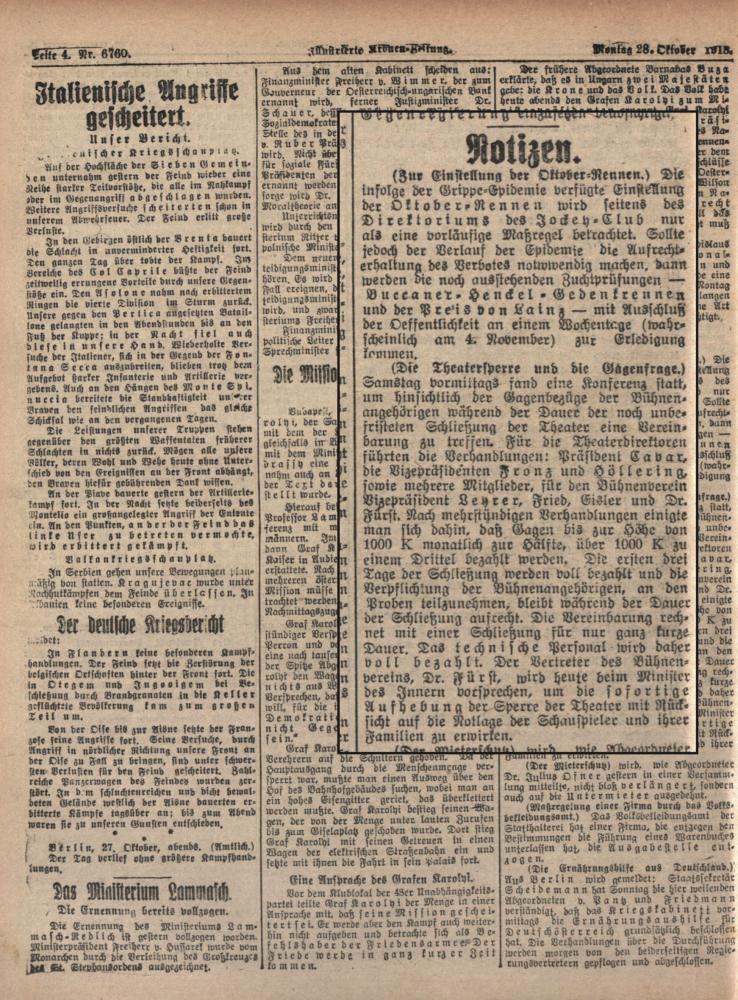 """Zu sehen ist eine Seite der """"Illustrierten Kronen Zeitung"""". Im vergrößerten Ausschnitt geht es um die Schließung der Theater und die Bezahlung des Personals."""