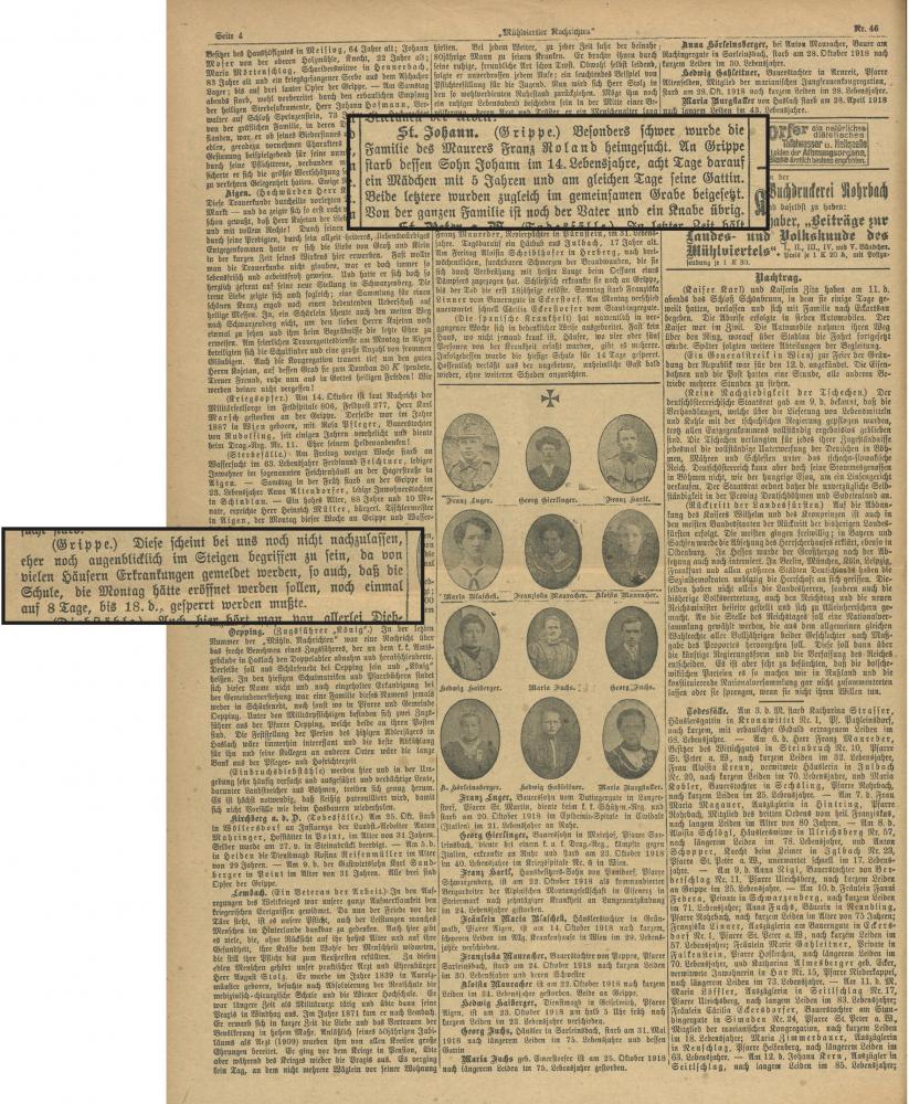 """Zu sehen ist eine Seite der """"Mühlviertler Nachrichten"""" mit Traueranzeigen. Zwei vergrößerte Ausschnitte beschreiben Todesfälle durch die Grippe."""