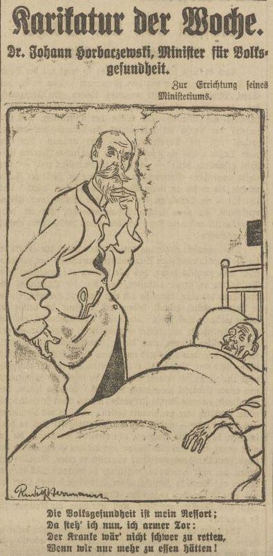 Diese Karikatur zeigt einen Arzt, der sich nachdenklich über den Bart streicht sowie am Hintern kratzt. Er steht an einem Krankenbett mit einem Patienten. Dieser befindet sich wohl in einem schlechten Zustand und verzieht das Gesicht.