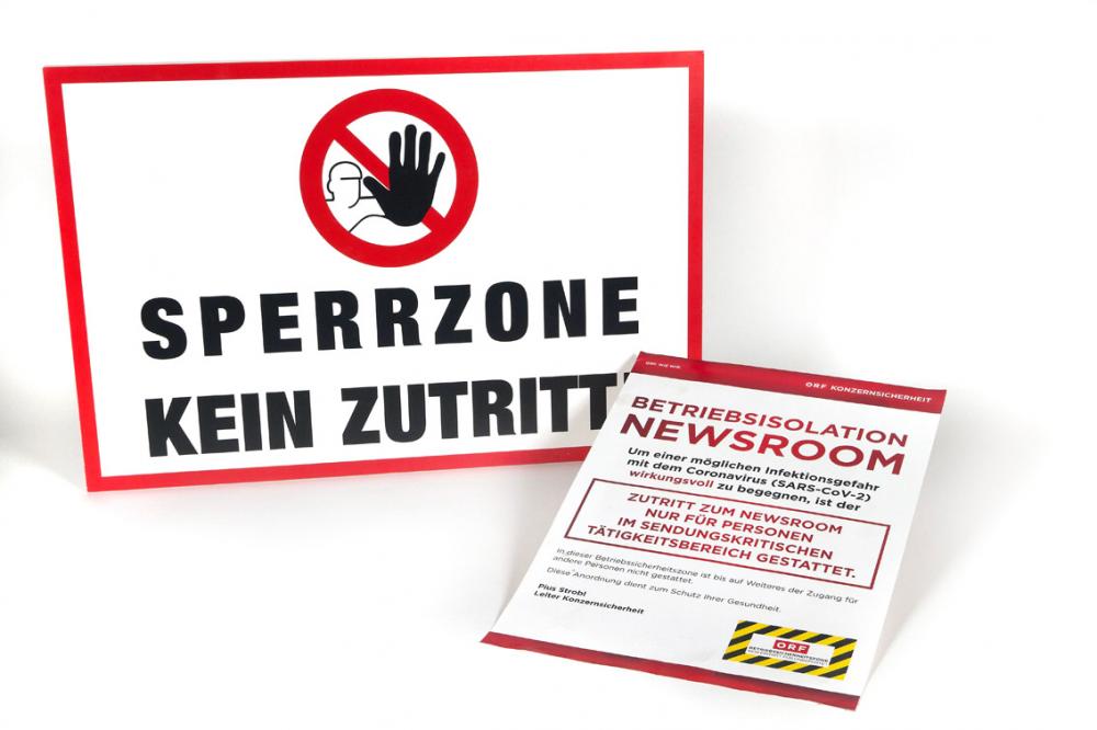 Schild aus der Isolationszone des ORF, März 2020